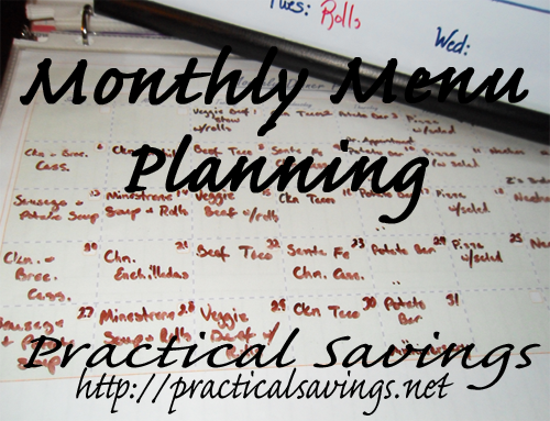 May Monthly Menu Plan ~ 2013
