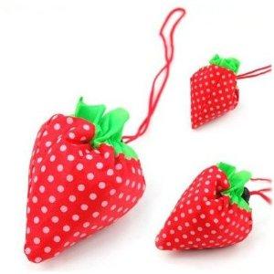 SODIAL- Strawberry Folding Fold up Reusable Compact Eco Shopping Bag