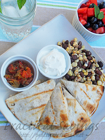 Chicken Quesadillas, Fresh Corn Relish and Watermelon Berry Salad