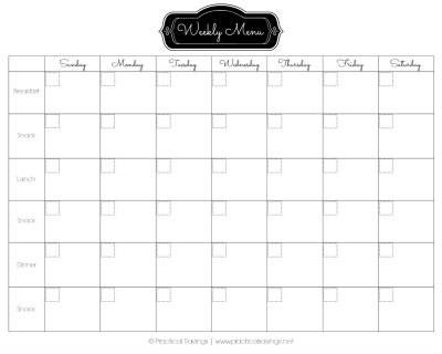 Menu Plan Calendar
