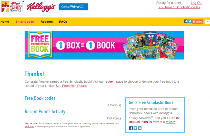 Kelloggs Free Book Promotion2