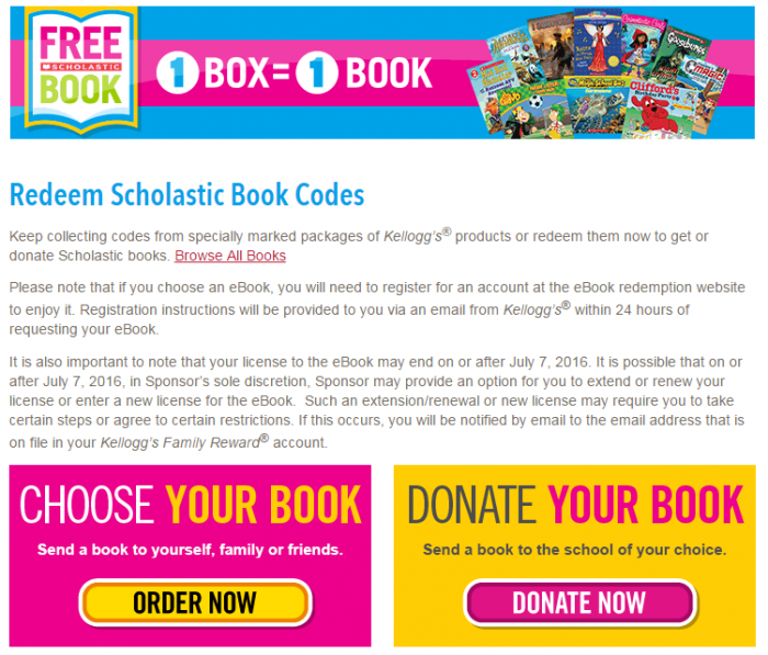Kelloggs Free Book Promotion3